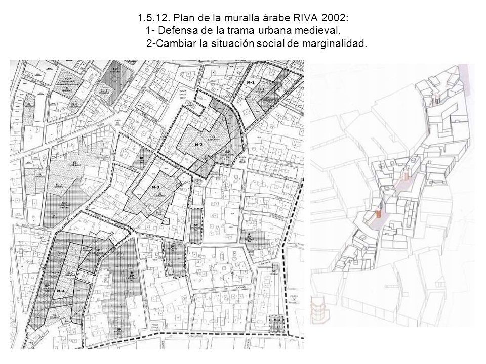 1.5.12. Plan de la muralla árabe RIVA 2002: 1- Defensa de la trama urbana medieval.
