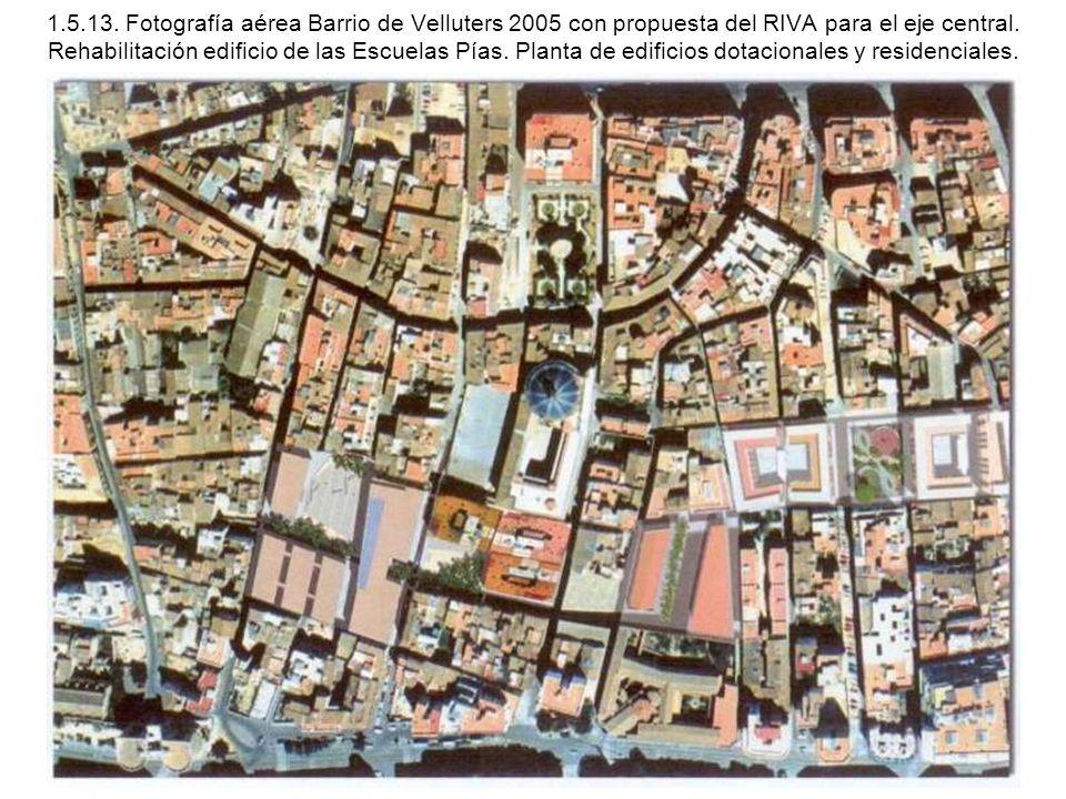 1.5.13. Fotografía aérea Barrio de Velluters 2005 con propuesta del RIVA para el eje central.