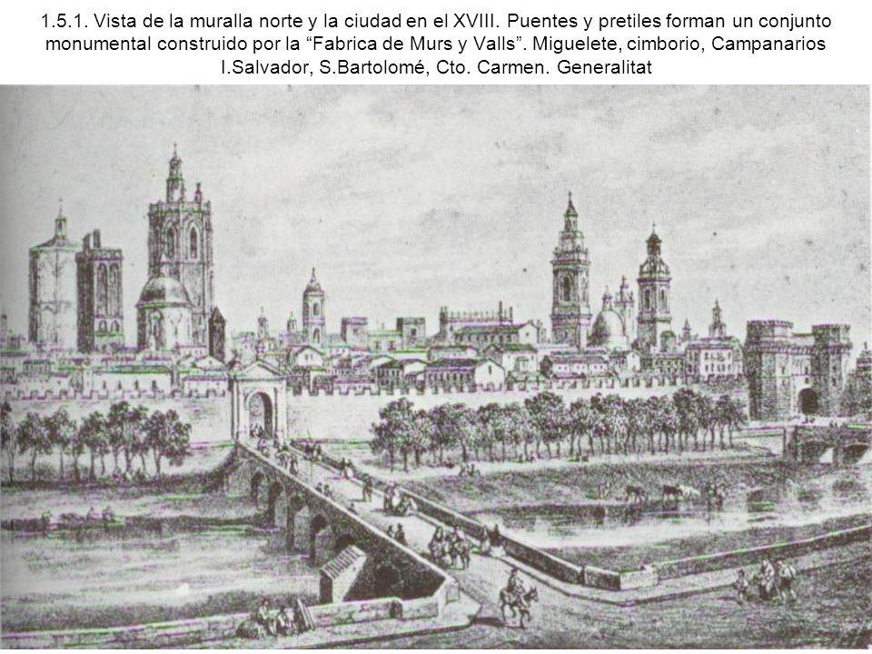 1. 5. 1. Vista de la muralla norte y la ciudad en el XVIII