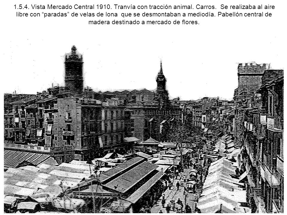 1. 5. 4. Vista Mercado Central 1910. Tranvía con tracción animal
