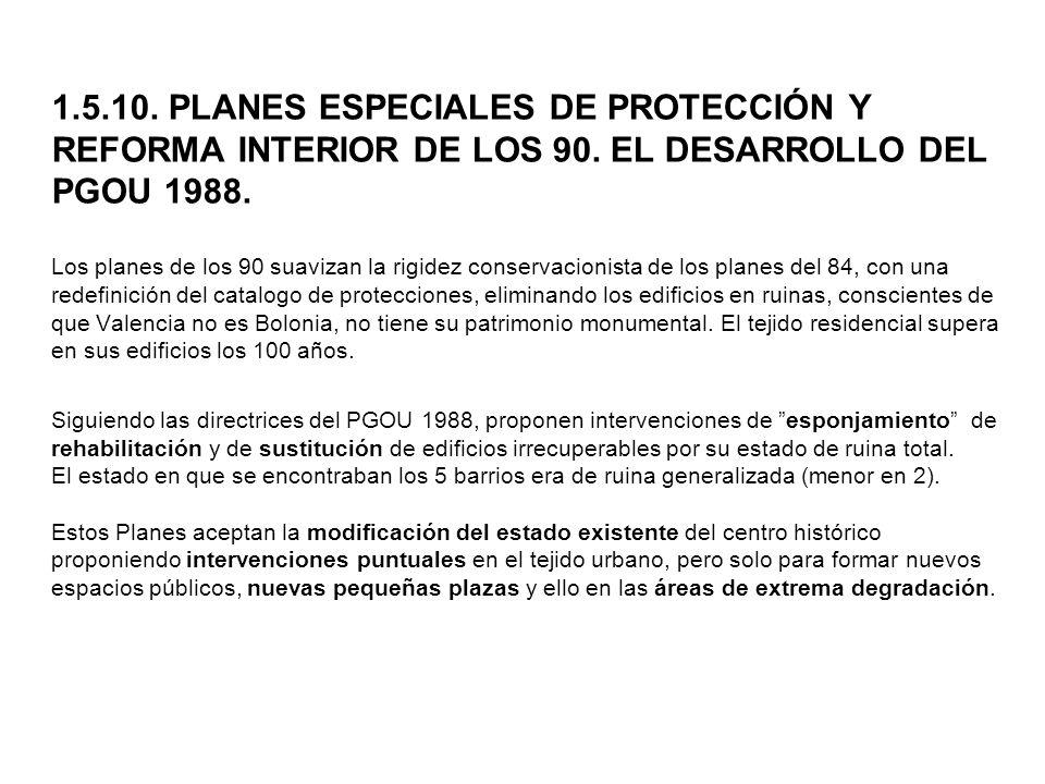 1. 5. 10. PLANES ESPECIALES DE PROTECCIÓN Y REFORMA INTERIOR DE LOS 90