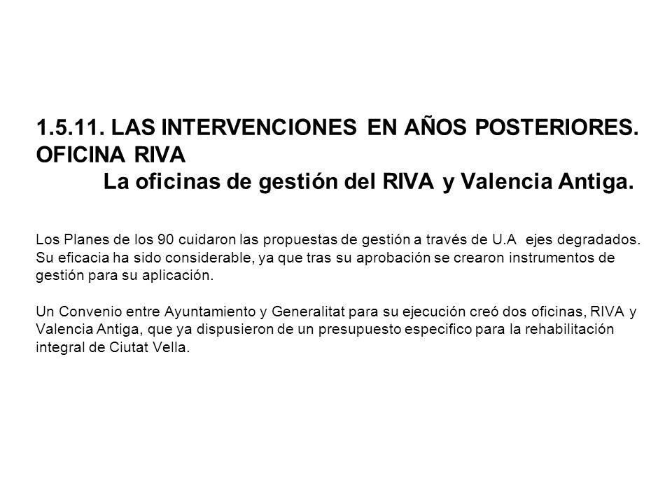 1. 5. 11. LAS INTERVENCIONES EN AÑOS POSTERIORES. OFICINA RIVA