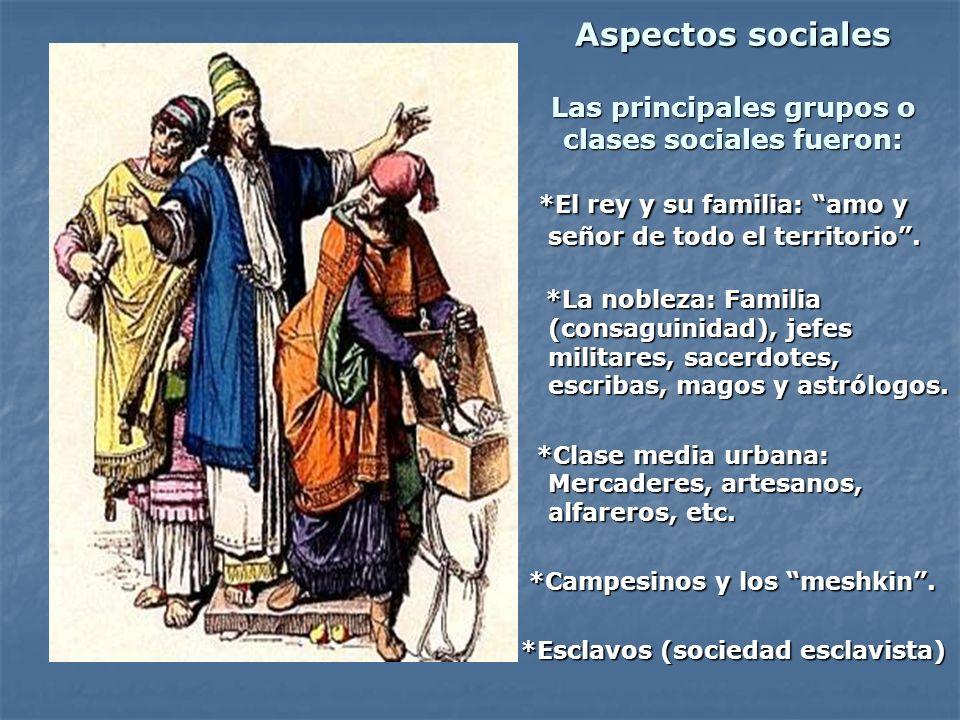 Aspectos sociales Las principales grupos o clases sociales fueron: