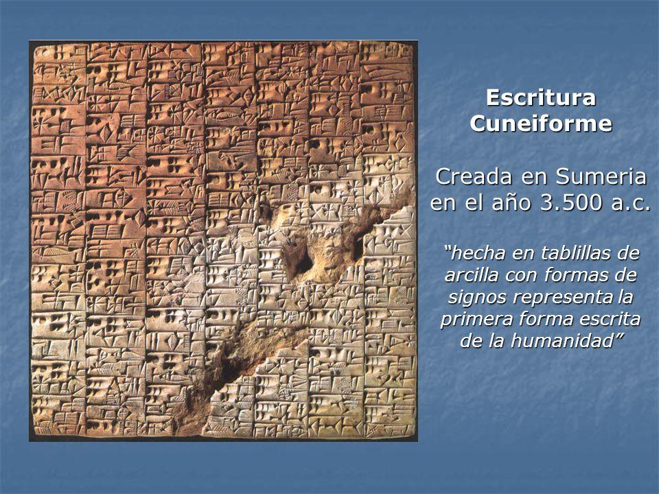 Escritura Cuneiforme Creada en Sumeria en el año 3. 500 a. c