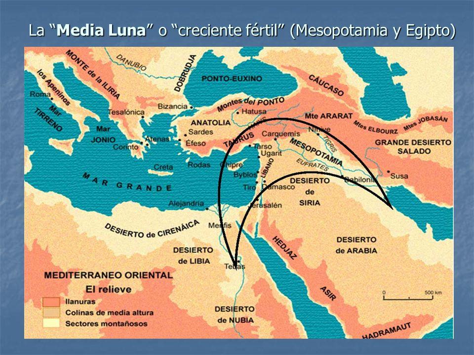 La Media Luna o creciente fértil (Mesopotamia y Egipto)