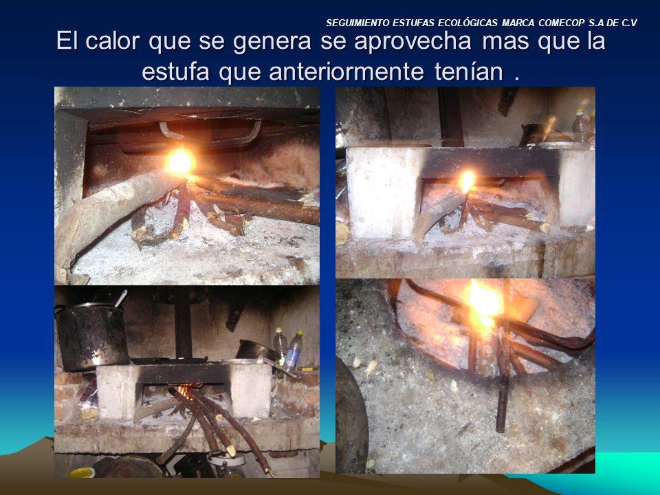El calor que se genera se aprovecha mas que la estufa que anteriormente tenían .