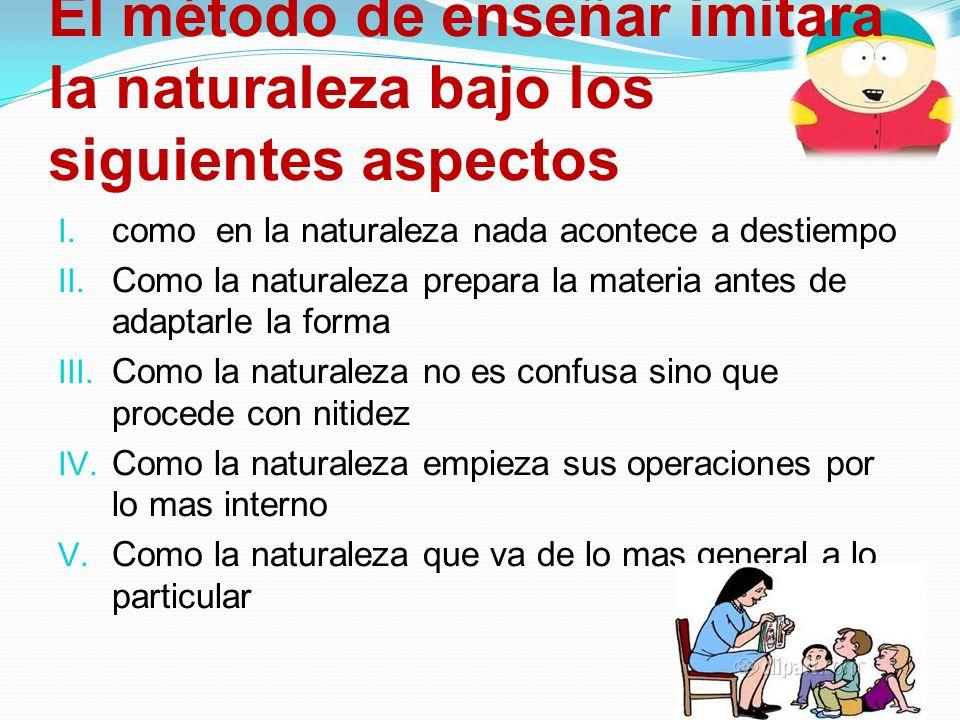El método de enseñar imitara la naturaleza bajo los siguientes aspectos