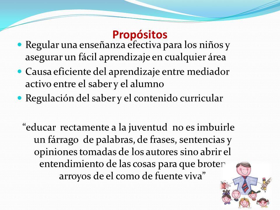 Propósitos Regular una enseñanza efectiva para los niños y asegurar un fácil aprendizaje en cualquier área.