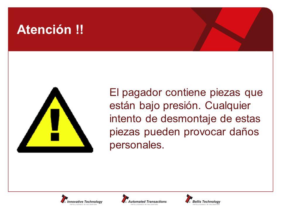 Atención !. El pagador contiene piezas que están bajo presión.
