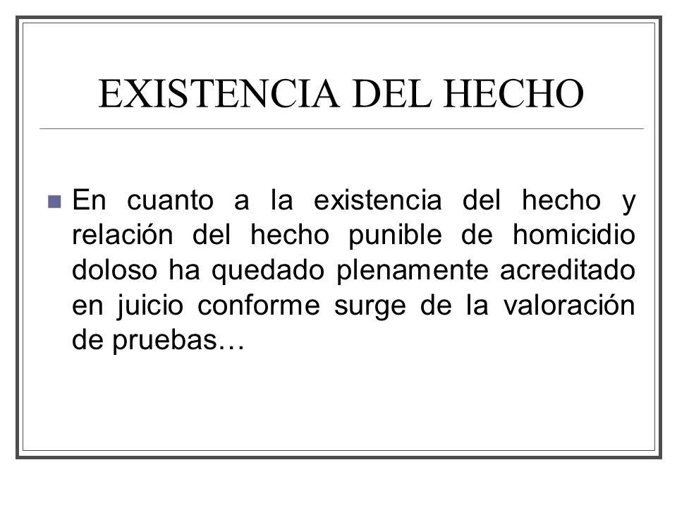 EXISTENCIA DEL HECHO