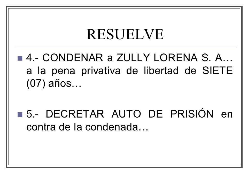 RESUELVE 4.- CONDENAR a ZULLY LORENA S. A… a la pena privativa de libertad de SIETE (07) años…