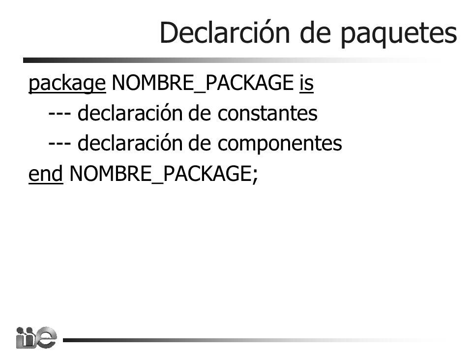 Declarción de paquetes