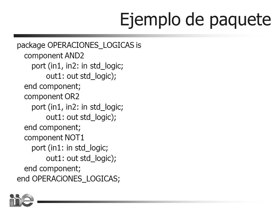 Ejemplo de paquete package OPERACIONES_LOGICAS is component AND2