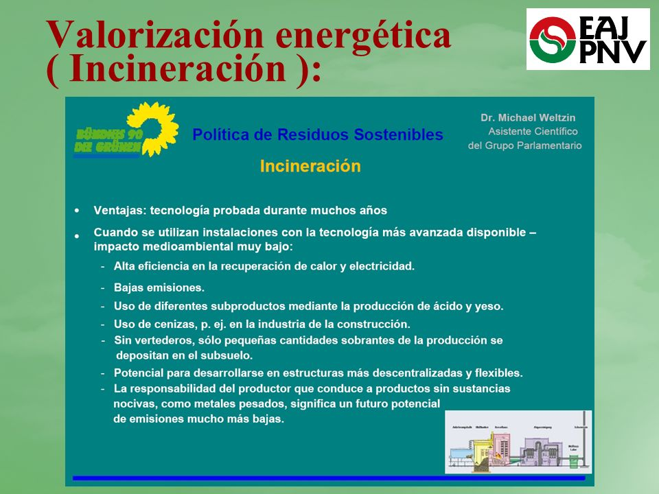 Valorización energética ( Incineración ):
