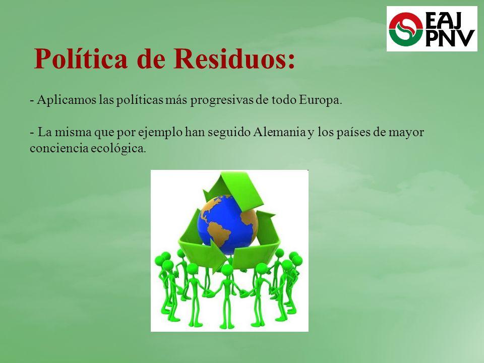 Política de Residuos: Aplicamos las políticas más progresivas de todo Europa.