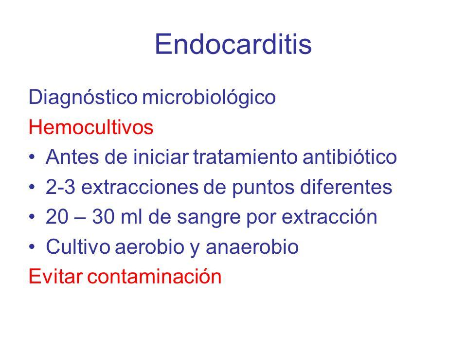 Endocarditis Diagnóstico microbiológico Hemocultivos