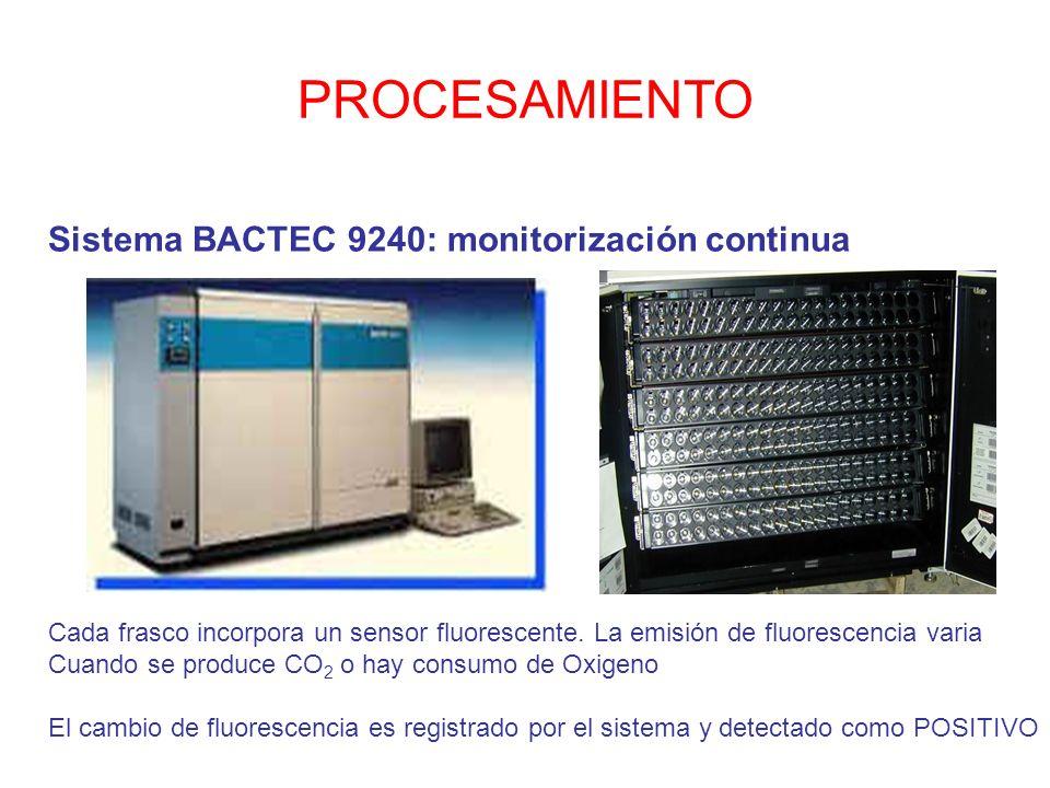 PROCESAMIENTO Sistema BACTEC 9240: monitorización continua