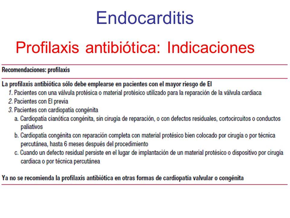 Endocarditis Profilaxis antibiótica: Indicaciones