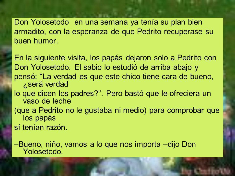 Don Yolosetodo en una semana ya tenía su plan bien