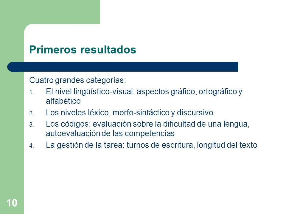 Primeros resultados Cuatro grandes categorías: