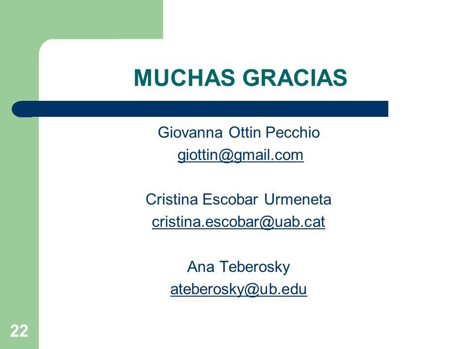 MUCHAS GRACIAS Giovanna Ottin Pecchio giottin@gmail.com