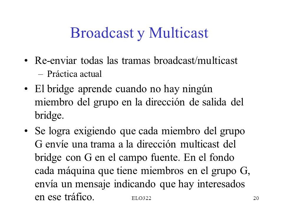 Broadcast y Multicast Re-enviar todas las tramas broadcast/multicast