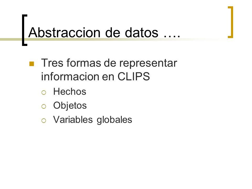 Abstraccion de datos …. Tres formas de representar informacion en CLIPS.