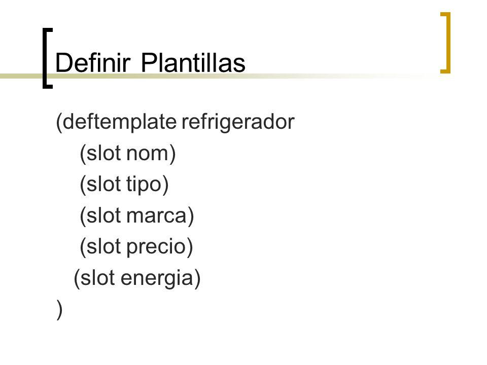 Definir Plantillas (deftemplate refrigerador (slot nom) (slot tipo)
