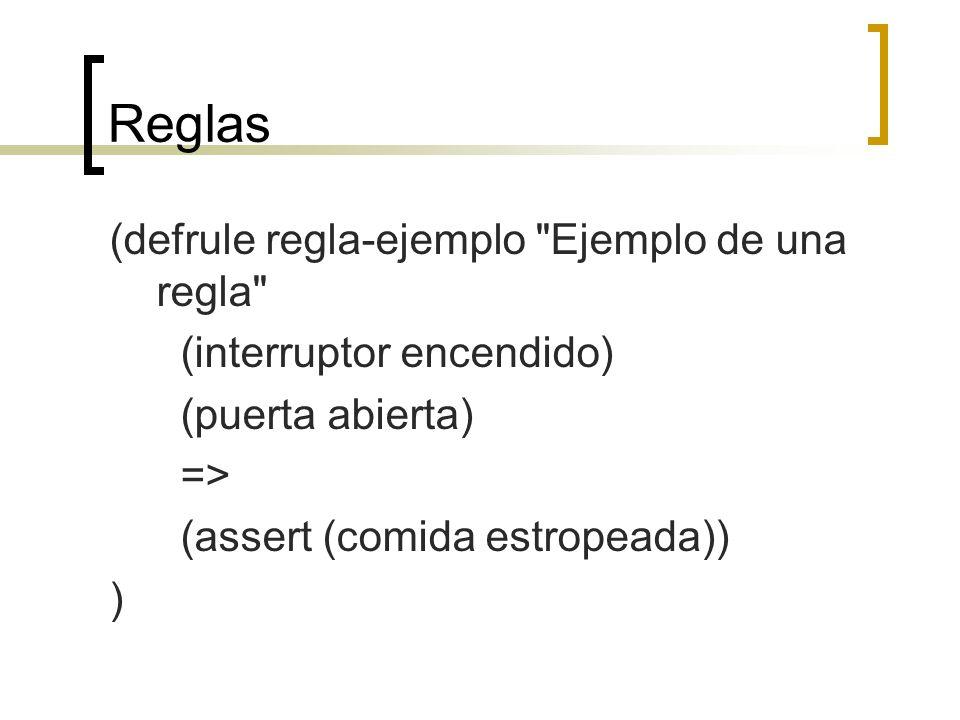 Reglas (defrule regla-ejemplo Ejemplo de una regla