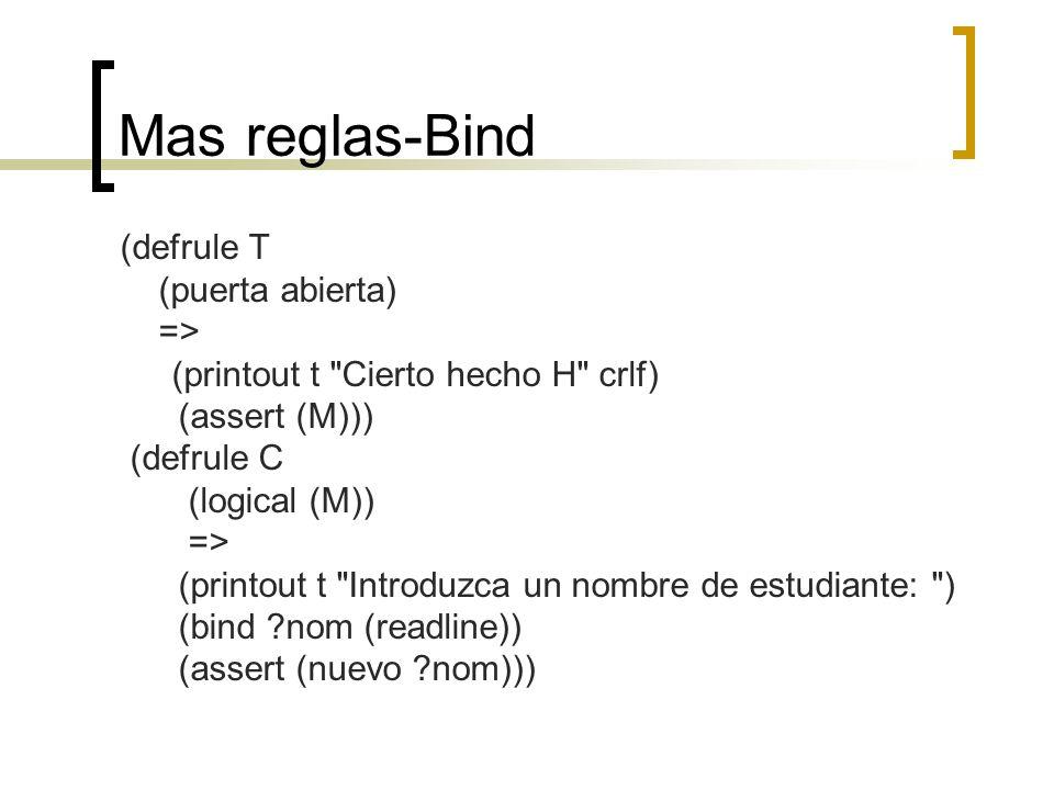 Mas reglas-Bind (defrule T (puerta abierta) =>