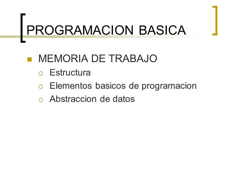 PROGRAMACION BASICA MEMORIA DE TRABAJO Estructura