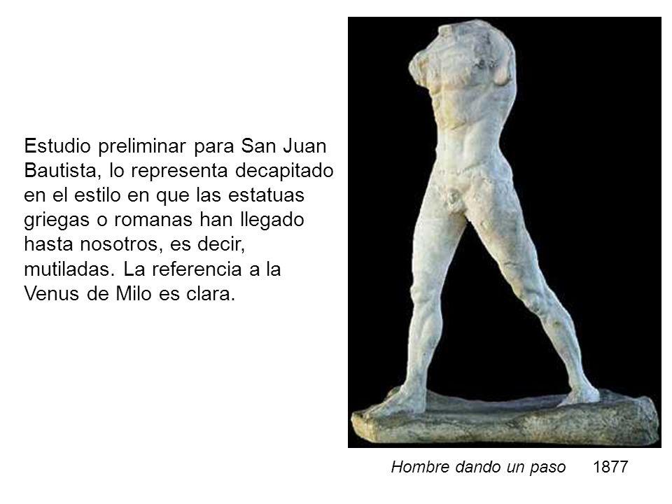 Estudio preliminar para San Juan Bautista, lo representa decapitado en el estilo en que las estatuas griegas o romanas han llegado hasta nosotros, es decir, mutiladas. La referencia a la Venus de Milo es clara.