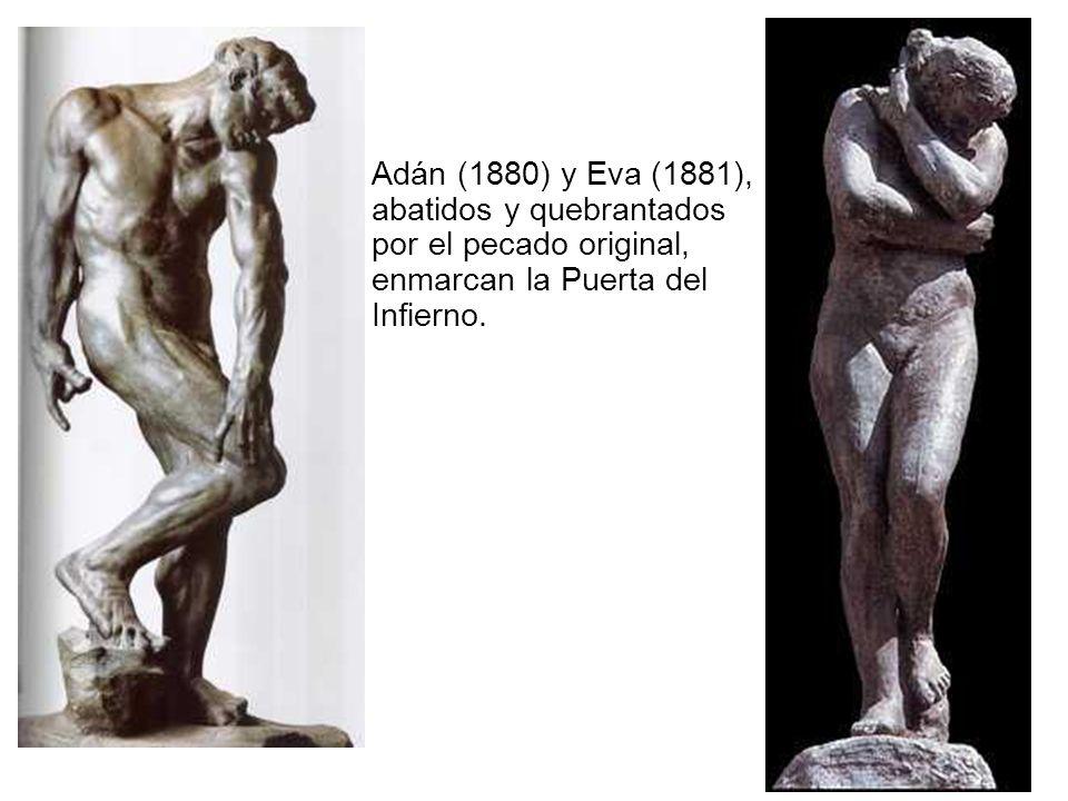 Adán (1880) y Eva (1881), abatidos y quebrantados por el pecado original, enmarcan la Puerta del Infierno.