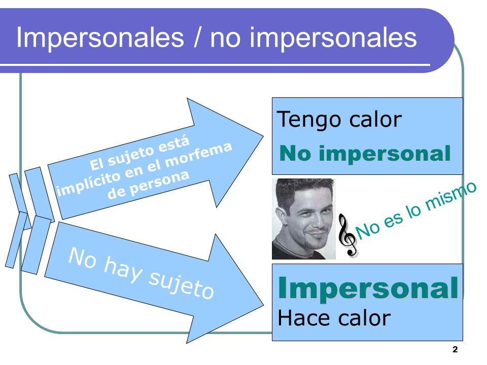 Impersonales / no impersonales