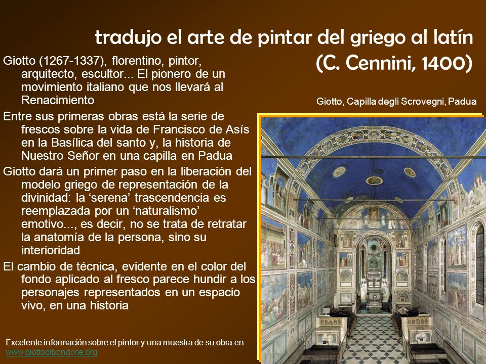 tradujo el arte de pintar del griego al latín (C. Cennini, 1400)