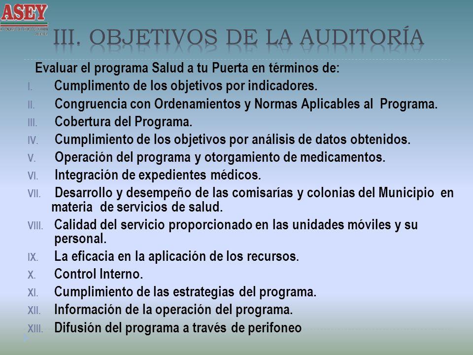 III. Objetivos de la Auditoría
