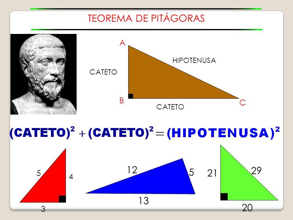 TEOREMA DE PITÁGORAS 12 29 5 21 13 20 A B C 5 4 3 HIPOTENUSA CATETO