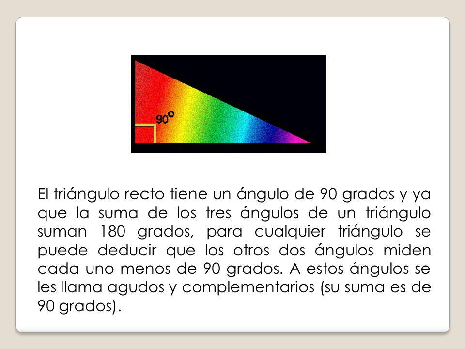 El triángulo recto tiene un ángulo de 90 grados y ya que la suma de los tres ángulos de un triángulo suman 180 grados, para cualquier triángulo se puede deducir que los otros dos ángulos miden cada uno menos de 90 grados.