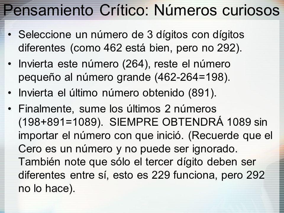 Pensamiento Crítico: Números curiosos