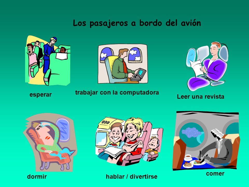 Los pasajeros a bordo del avión