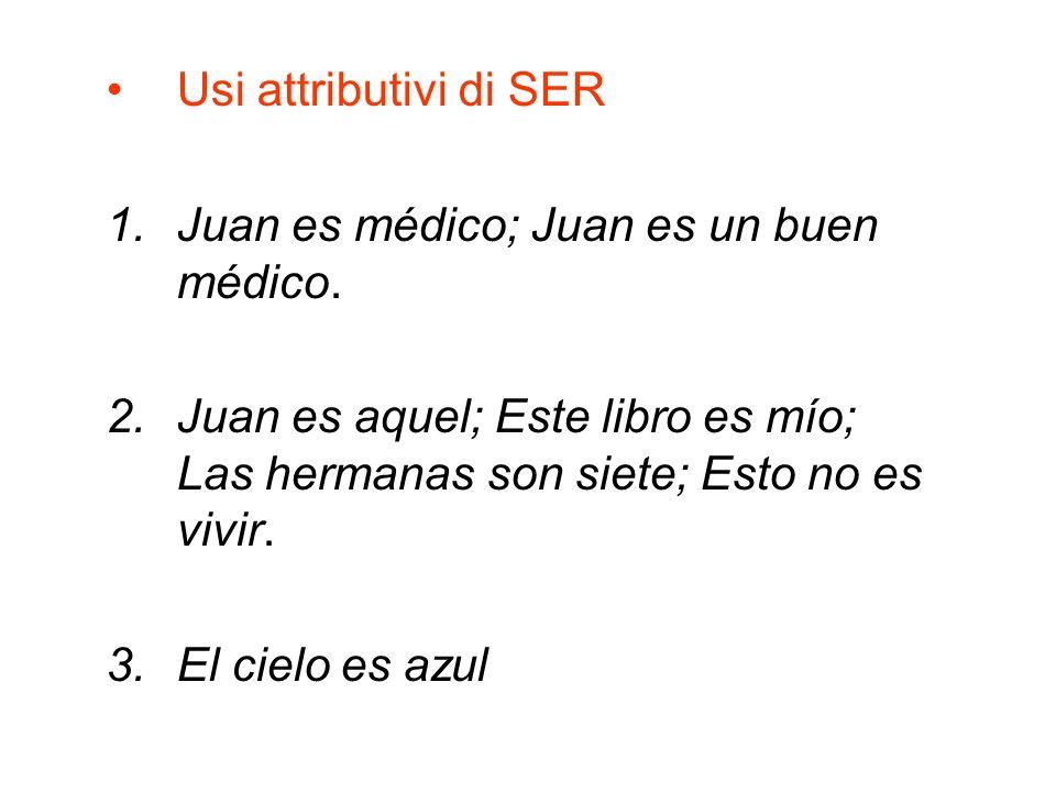 Usi attributivi di SER Juan es médico; Juan es un buen médico. Juan es aquel; Este libro es mío; Las hermanas son siete; Esto no es vivir.