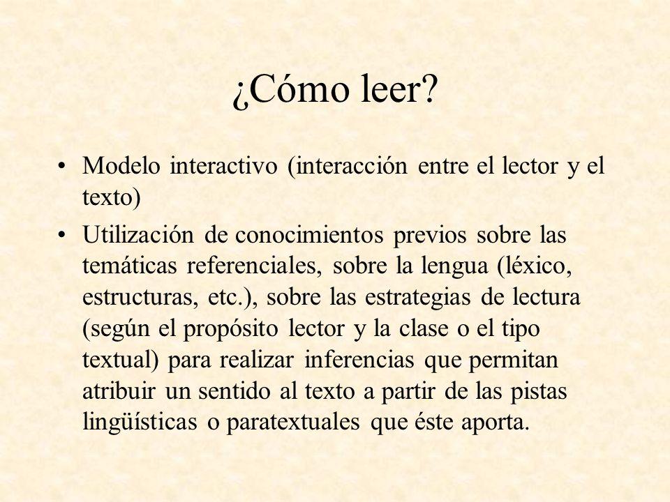 ¿Cómo leer Modelo interactivo (interacción entre el lector y el texto)