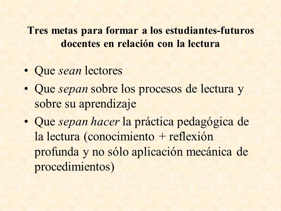 Que sepan sobre los procesos de lectura y sobre su aprendizaje