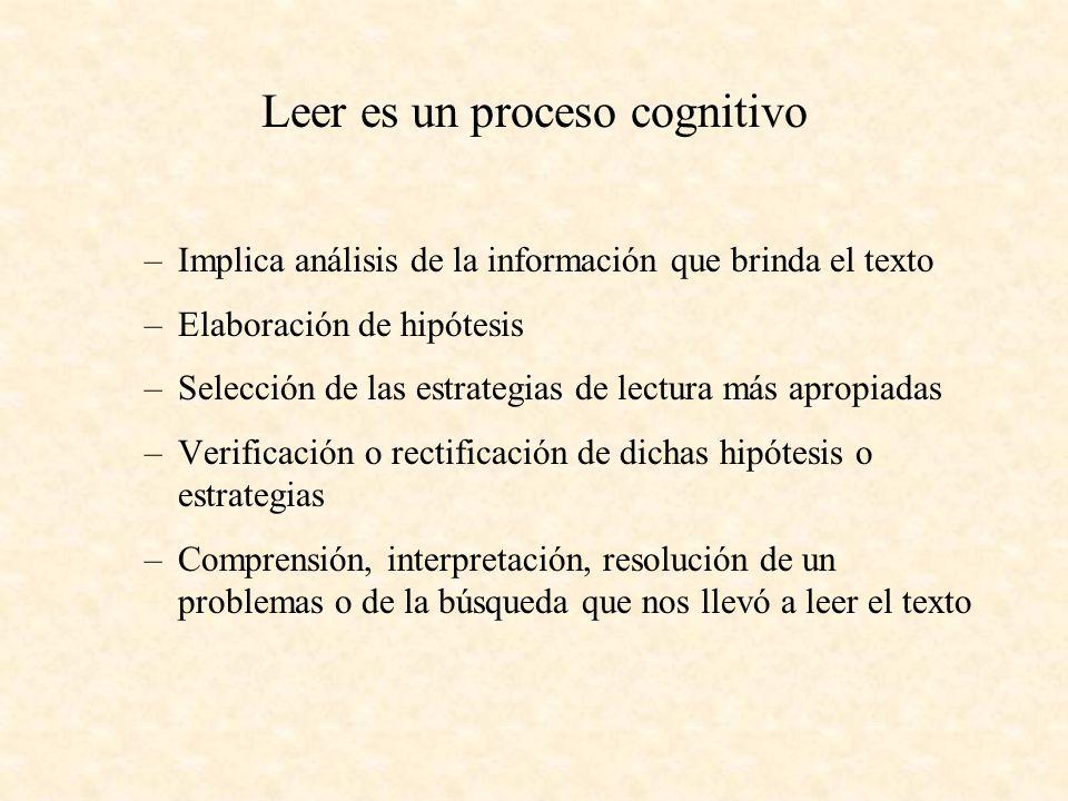 Leer es un proceso cognitivo