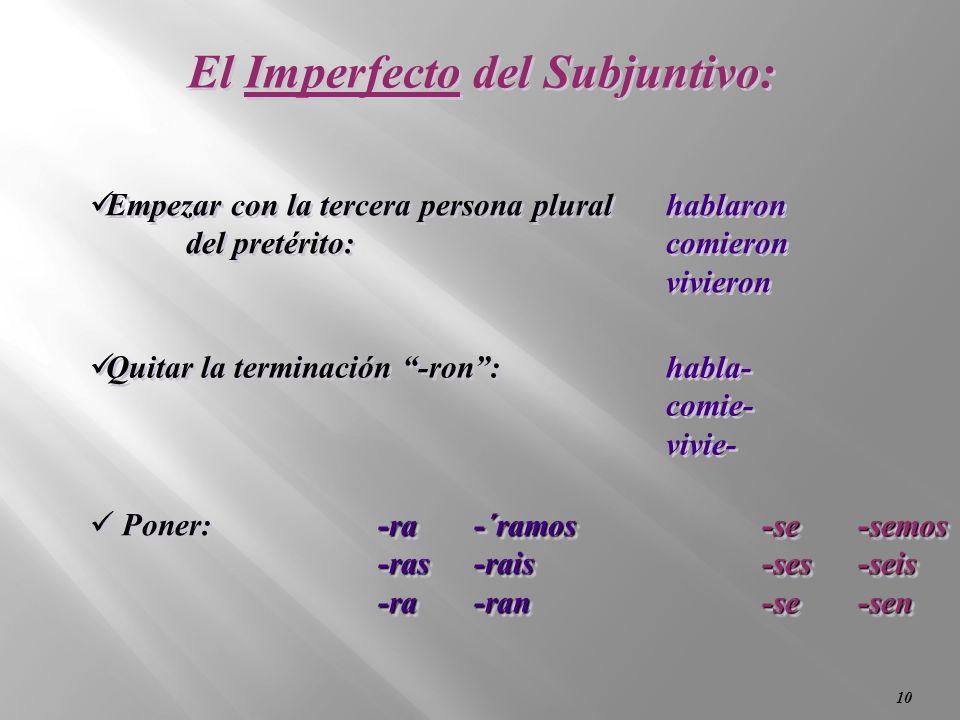 El Imperfecto del Subjuntivo: