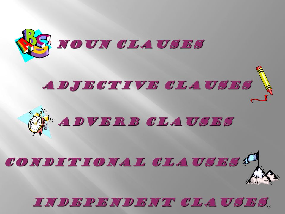 Noun Clauses Adjective Clauses Adverb Clauses Conditional Clauses Independent clauses