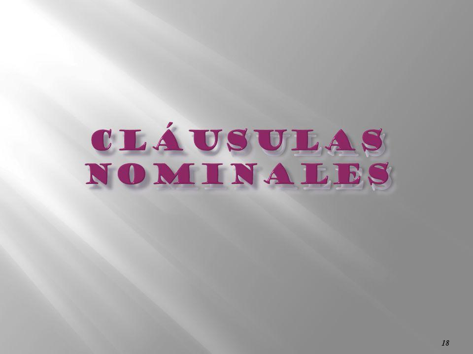 cláusulas nominales