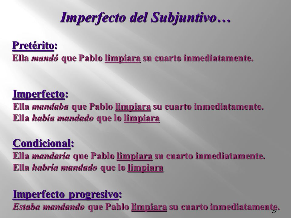 Imperfecto del Subjuntivo…