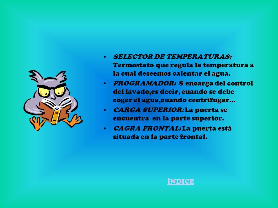 SELECTOR DE TEMPERATURAS: Termostato que regula la temperatura a la cual deseemos calentar el agua.