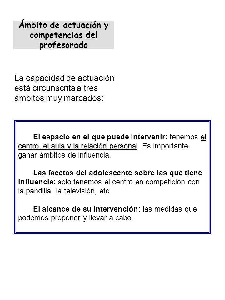 Ámbito de actuación y competencias del profesorado